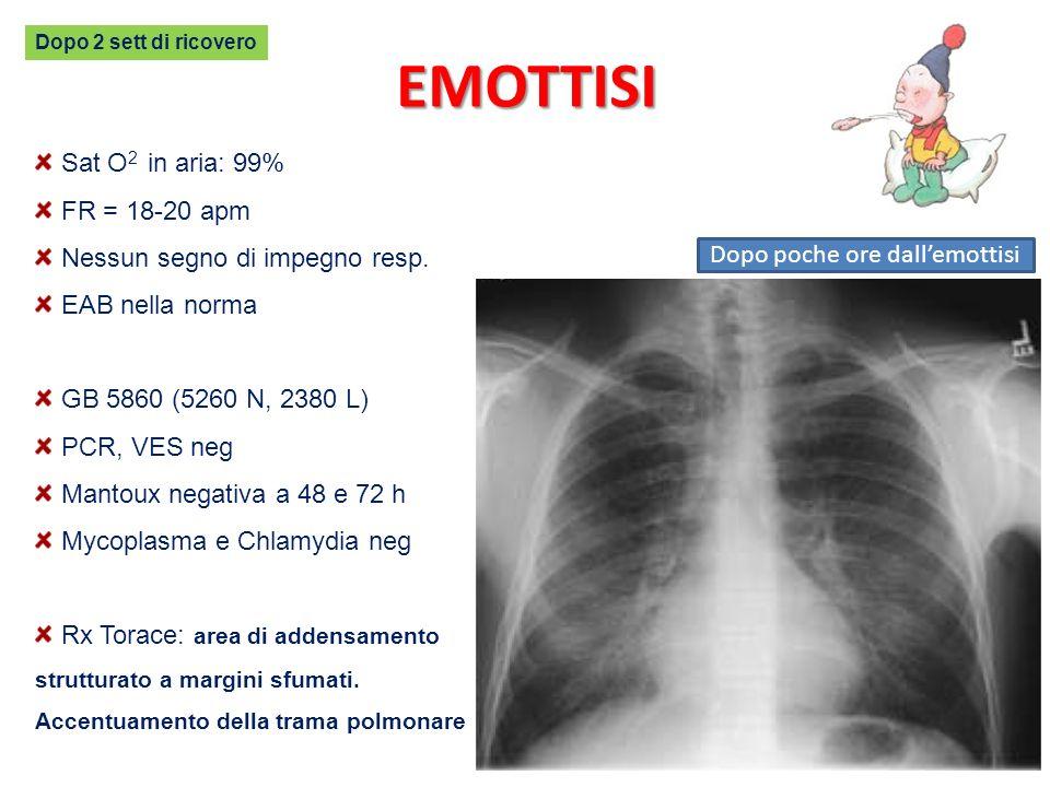 Sat O 2 in aria: 99% FR = 18-20 apm Nessun segno di impegno resp. EAB nella norma GB 5860 (5260 N, 2380 L) PCR, VES neg Mantoux negativa a 48 e 72 h M