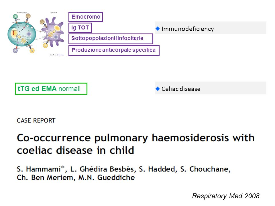 Ig TOT Sottopopolazioni linfocitarie Emocromo Immunodeficiency Produzione anticorpale specifica Celiac disease Respiratory Med 2008 tTG ed EMA normali