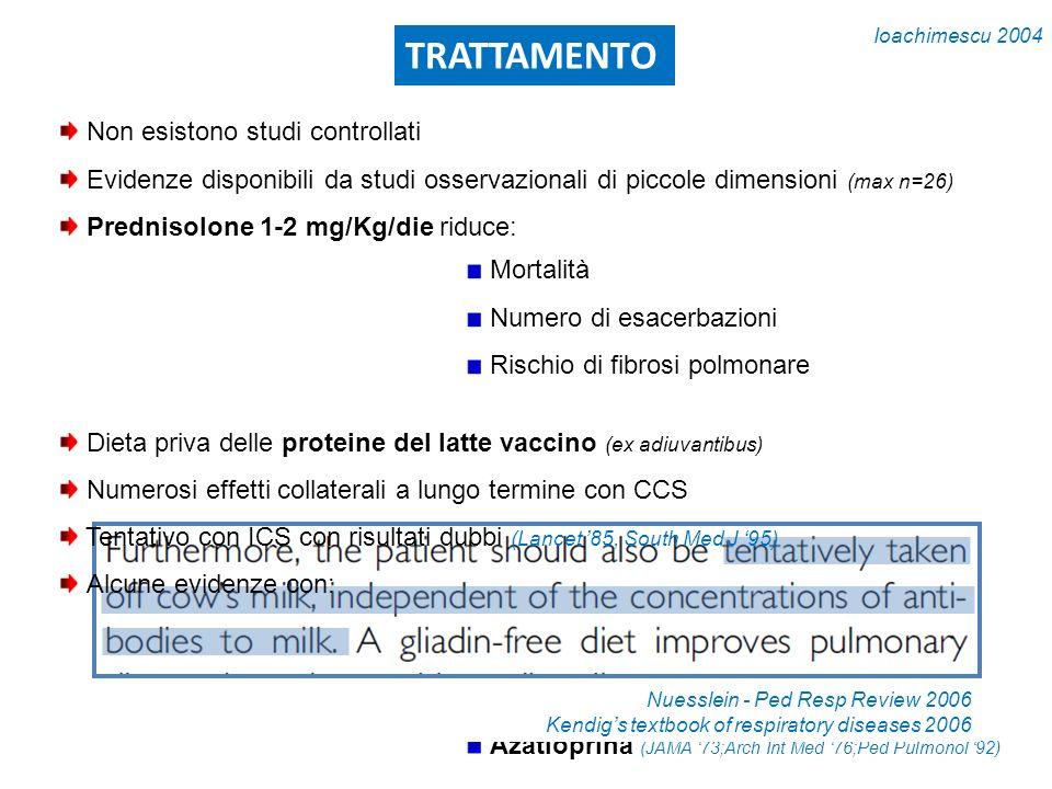 TRATTAMENTO Ciclofosfamide Methotrexate Idrossiclorochina Azatioprina (JAMA 73;Arch Int Med 76;Ped Pulmonol 92) Mortalità Numero di esacerbazioni Risc