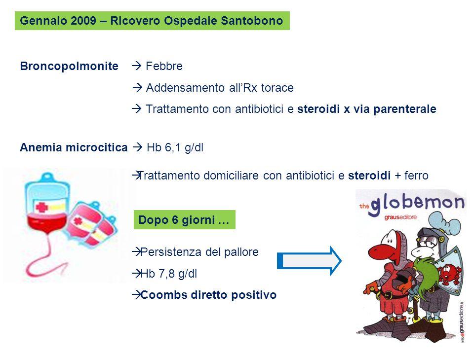 Gennaio 2009 – Ricovero Ospedale Santobono Broncopolmonite Febbre Addensamento allRx torace Trattamento con antibiotici e steroidi x via parenterale A