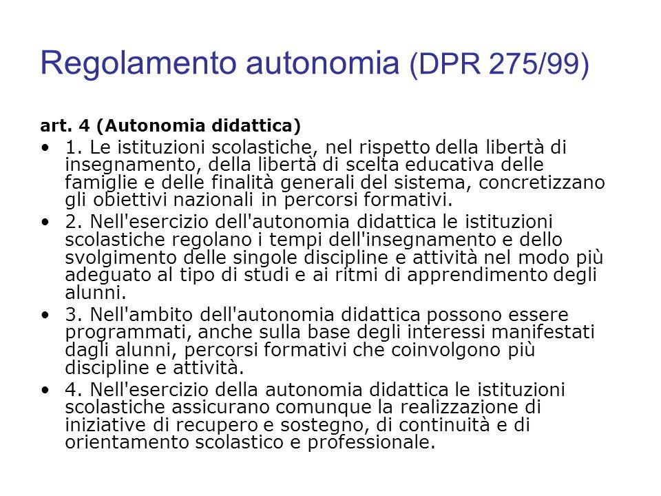 Regolamento autonomia (DPR 275/99) art. 4 (Autonomia didattica) 1. Le istituzioni scolastiche, nel rispetto della libertà di insegnamento, della liber