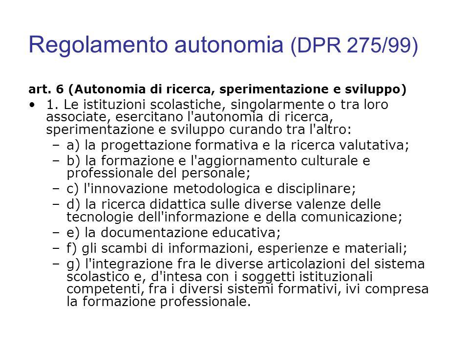 Regolamento autonomia (DPR 275/99) art. 6 (Autonomia di ricerca, sperimentazione e sviluppo) 1. Le istituzioni scolastiche, singolarmente o tra loro a