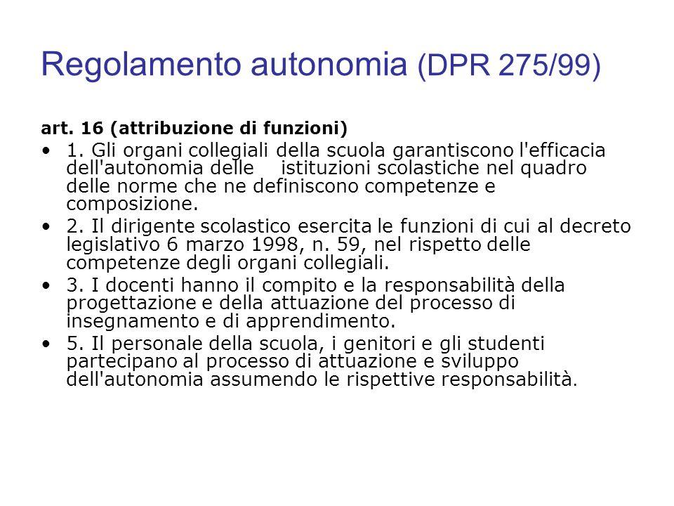 Regolamento autonomia (DPR 275/99) art. 16 (attribuzione di funzioni) 1. Gli organi collegiali della scuola garantiscono l'efficacia dell'autonomia de