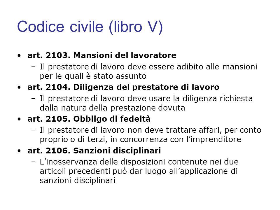 Codice civile (libro V) art. 2103. Mansioni del lavoratore –Il prestatore di lavoro deve essere adibito alle mansioni per le quali è stato assunto art