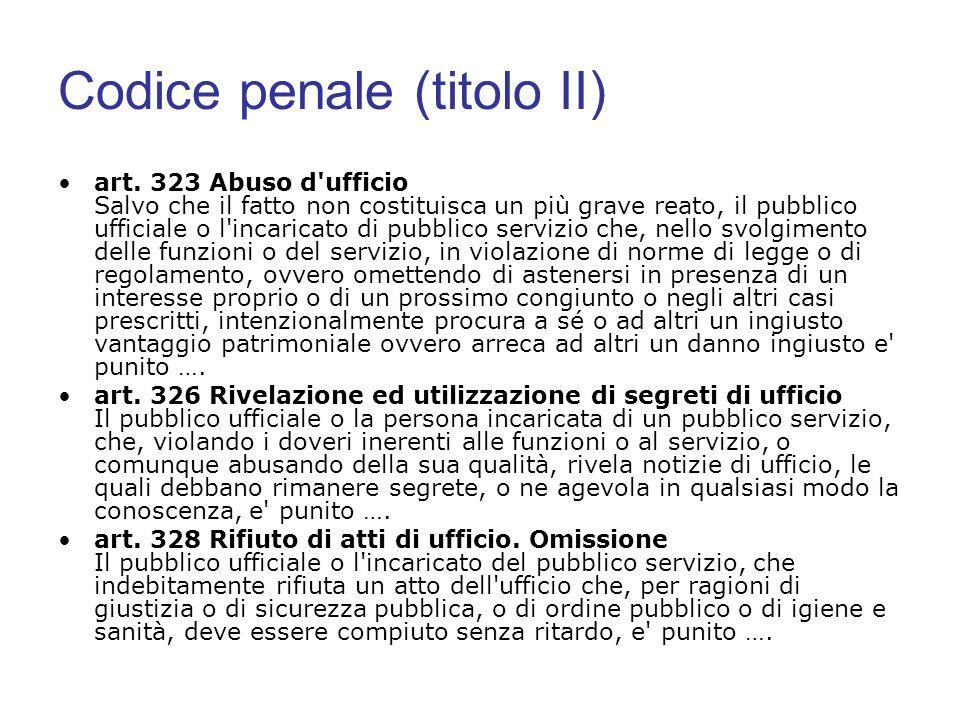 Codice penale (titolo II) art. 323 Abuso d'ufficio Salvo che il fatto non costituisca un più grave reato, il pubblico ufficiale o l'incaricato di pubb