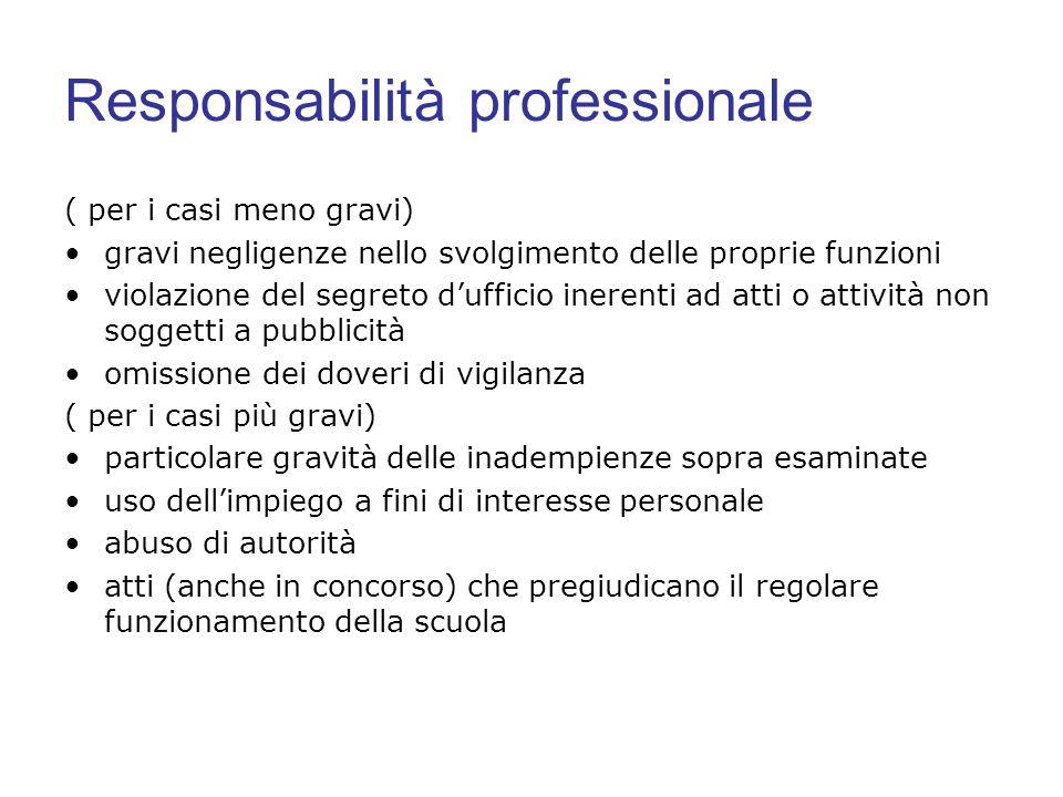 Responsabilità professionale ( per i casi meno gravi) gravi negligenze nello svolgimento delle proprie funzioni violazione del segreto dufficio ineren