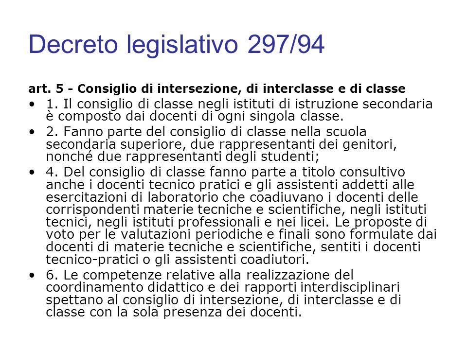 Decreto legislativo 297/94 art. 5 - Consiglio di intersezione, di interclasse e di classe 1. Il consiglio di classe negli istituti di istruzione secon