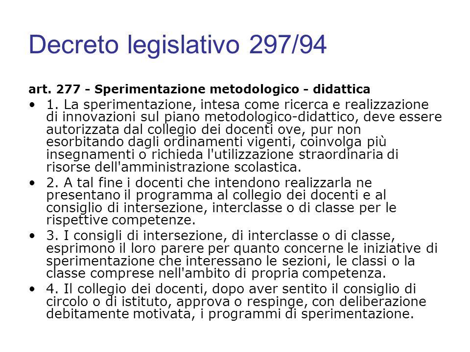 Decreto legislativo 297/94 art. 277 - Sperimentazione metodologico - didattica 1. La sperimentazione, intesa come ricerca e realizzazione di innovazio