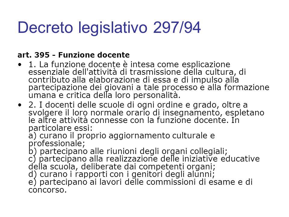Decreto legislativo 297/94 art. 395 - Funzione docente 1. La funzione docente è intesa come esplicazione essenziale dell'attività di trasmissione dell