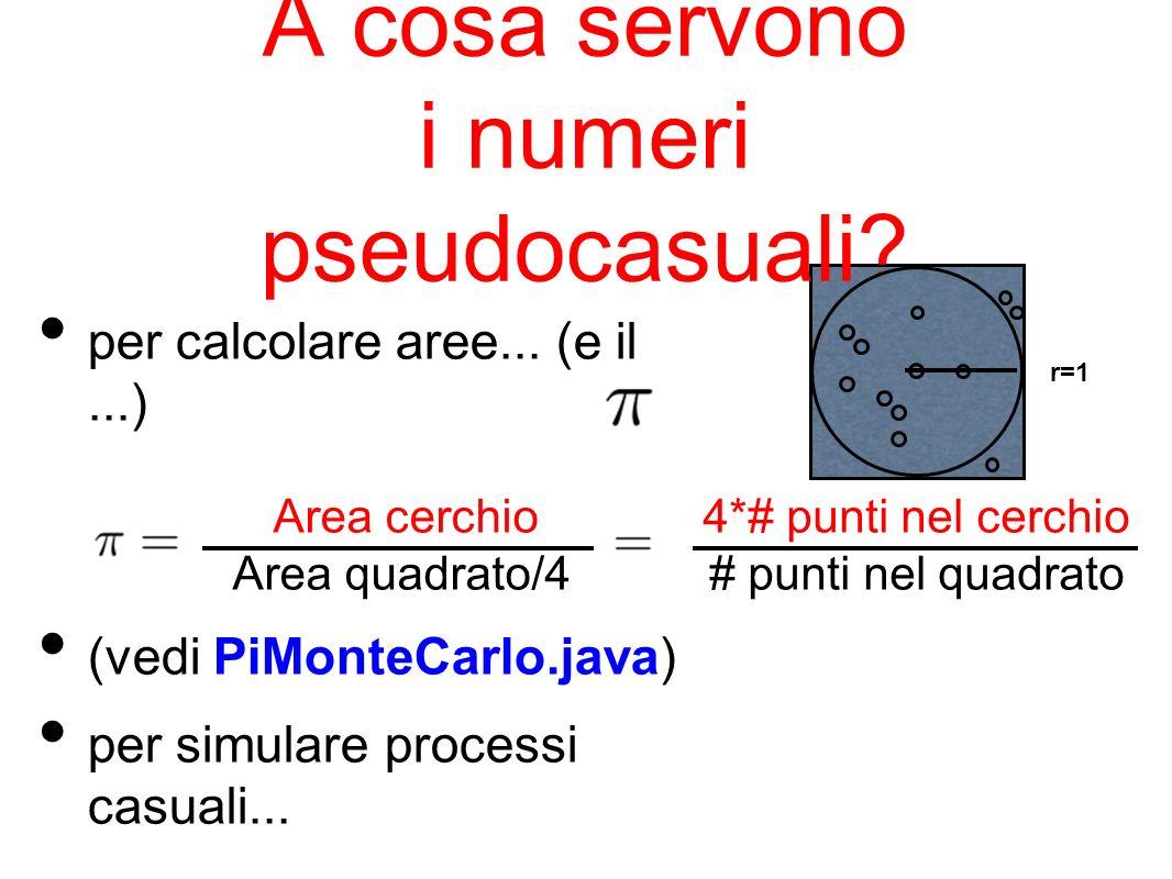 A cosa servono i numeri pseudocasuali? per calcolare aree... (e il...) (vedi PiMonteCarlo.java) per simulare processi casuali... Area cerchio Area qua