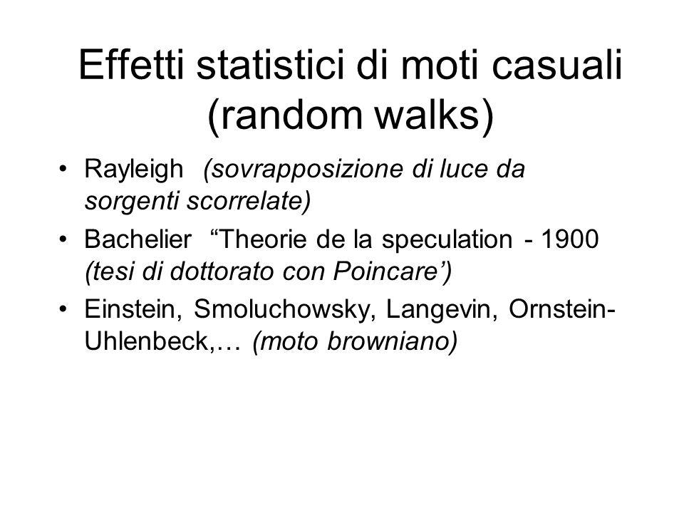 Effetti statistici di moti casuali (random walks) Rayleigh (sovrapposizione di luce da sorgenti scorrelate) Bachelier Theorie de la speculation - 1900 (tesi di dottorato con Poincare) Einstein, Smoluchowsky, Langevin, Ornstein- Uhlenbeck,… (moto browniano)