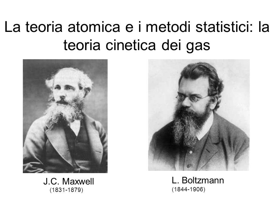 La teoria atomica e i metodi statistici: la teoria cinetica dei gas J.C. Maxwell (1831-1879) L. Boltzmann (1844-1906)