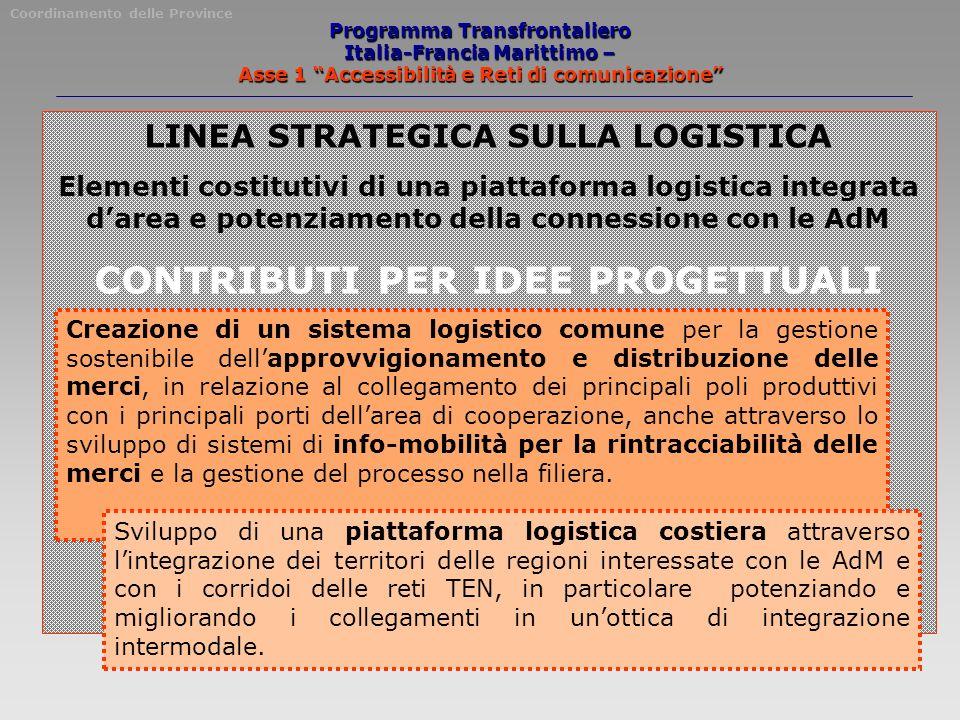 Programma Transfrontaliero Italia-Francia Marittimo – Asse 1 Accessibilità e Reti di comunicazione LINEA STRATEGICA SULLA LOGISTICA Elementi costituti
