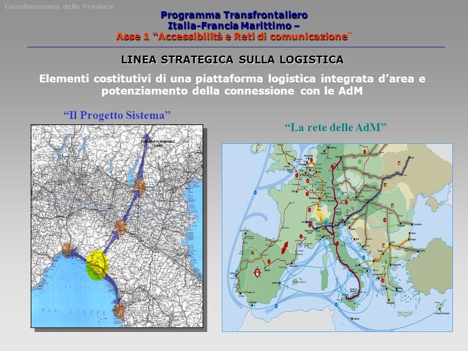 Programma Transfrontaliero Italia-Francia Marittimo – Asse 1 Accessibilità e Reti di comunicazione Coordinamento delle Province LINEA STRATEGICA SULLA