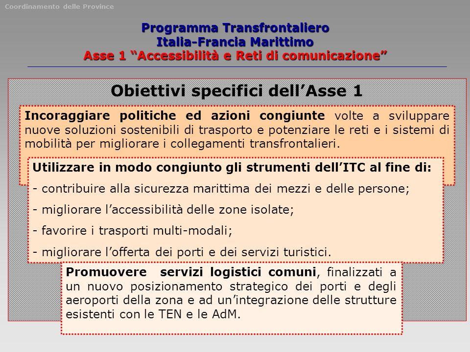 Programma Transfrontaliero Italia-Francia Marittimo Asse 1 Accessibilità e Reti di comunicazione Obiettivi specifici dellAsse 1 Incoraggiare politiche