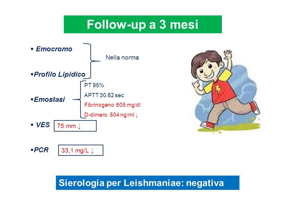 Follow-up a 3 mesi Emocromo Profilo Lipidico Emostasi VES PCR Nella norma PT 95% APTT 30,62 sec Fibrinogeno 605 mg/dl D-dimero 504 ng/ml 75 mm 33,1 mg