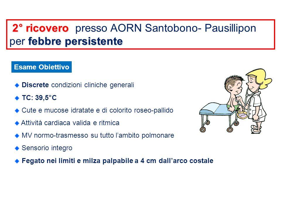 PRELIEVI EMATICI Emocromo Emostasi VES PCR Immunoglobuline Profilo Lipidico Emocoltura GB 7.006 (N7,5%, L79,9%) GR 3.790.000 Hb 8,6 MCV 70,2 fl Plt 68.000 PT 77% APTT 29,1 sec Fibrinogeno 591 mg/dl D-dimero 3970 ng/ml 95 mm 126,6 mg/L IgA 0,6 g/L IgG 19,6 g/L IgM 1,11 g/L Colesterolo totale 140 mg/dl Trigliceridi 301 mg/dl sterile