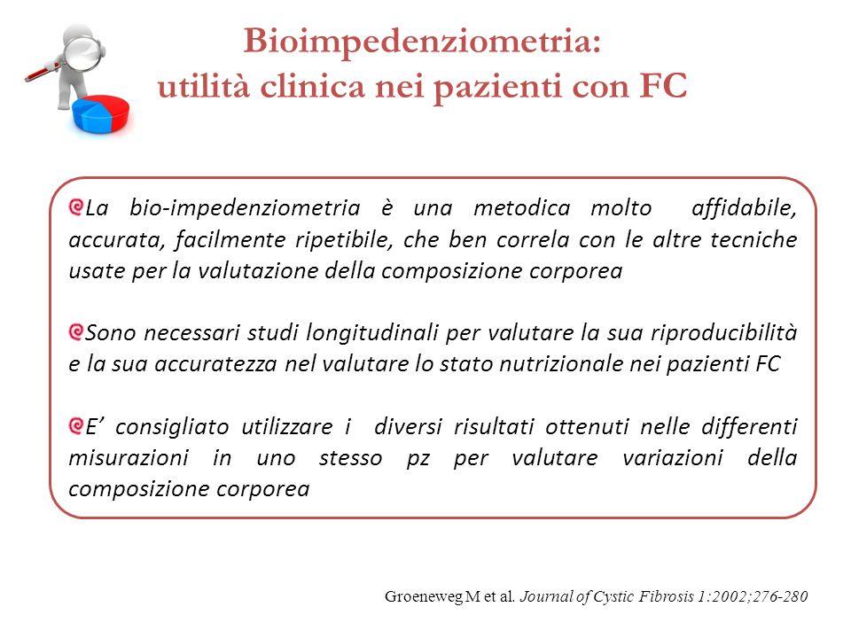 Bioimpedenziometria: utilità clinica nei pazienti con FC La bio-impedenziometria è una metodica molto affidabile, accurata, facilmente ripetibile, che