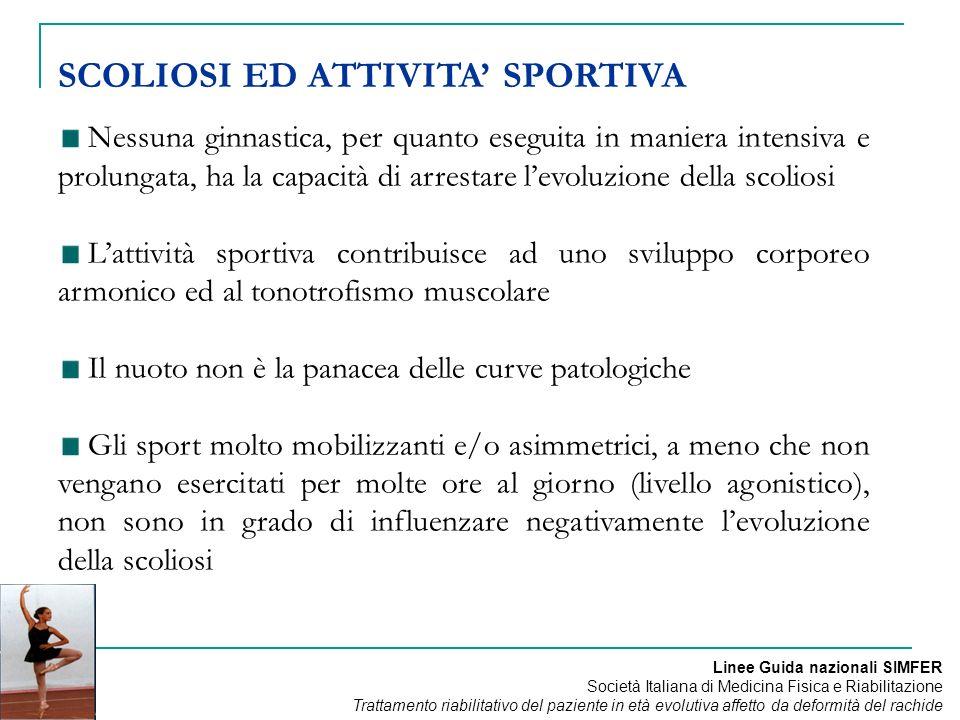 Nessuna ginnastica, per quanto eseguita in maniera intensiva e prolungata, ha la capacità di arrestare levoluzione della scoliosi Lattività sportiva c