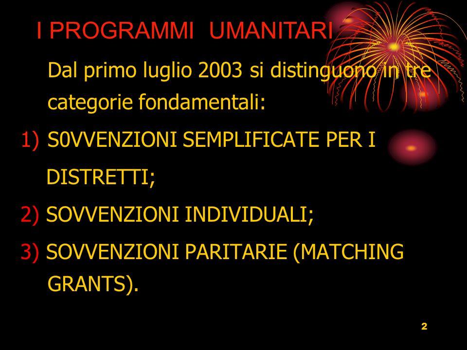 2 Dal primo luglio 2003 si distinguono in tre categorie fondamentali: 1)S0VVENZIONI SEMPLIFICATE PER I DISTRETTI; 2) SOVVENZIONI INDIVIDUALI; 3) SOVVENZIONI PARITARIE (MATCHING GRANTS).