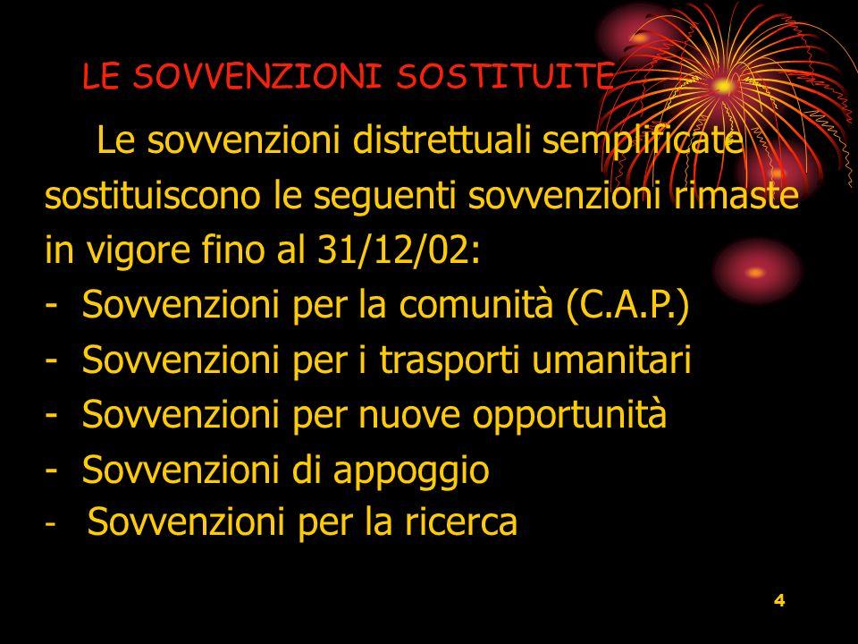 4 LE SOVVENZIONI SOSTITUITE Le sovvenzioni distrettuali semplificate sostituiscono le seguenti sovvenzioni rimaste in vigore fino al 31/12/02: - Sovve