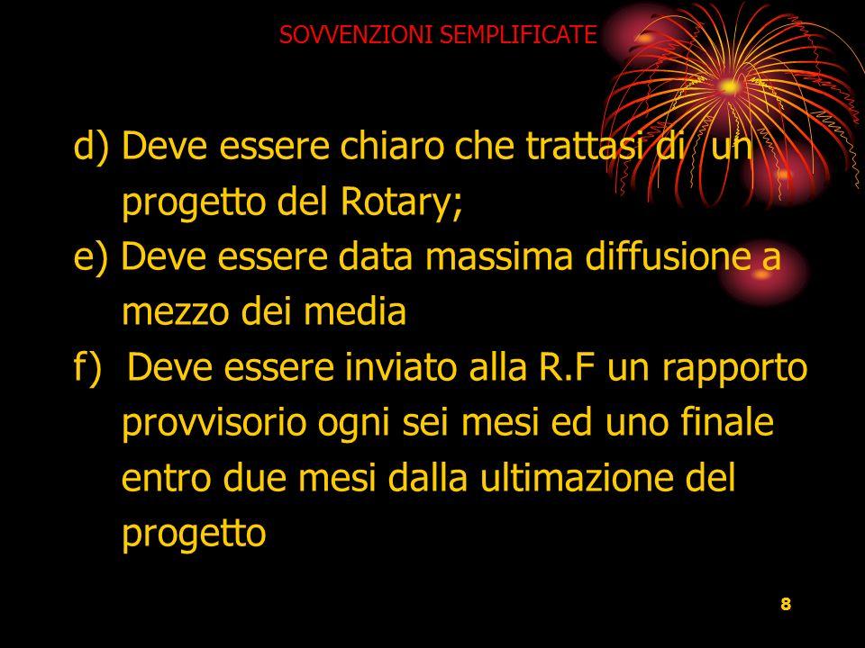 8 SOVVENZIONI SEMPLIFICATE d) Deve essere chiaro che trattasi di un progetto del Rotary; e) Deve essere data massima diffusione a mezzo dei media f) D