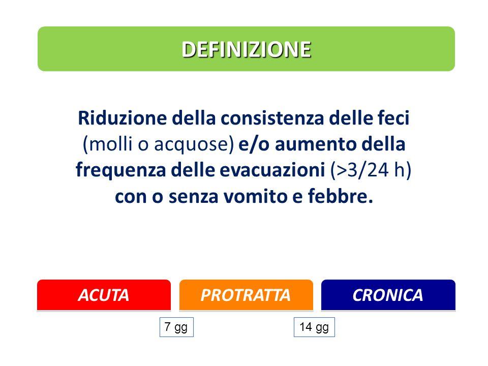 DEFINIZIONE Riduzione della consistenza delle feci (molli o acquose) e/o aumento della frequenza delle evacuazioni (>3/24 h) con o senza vomito e febb