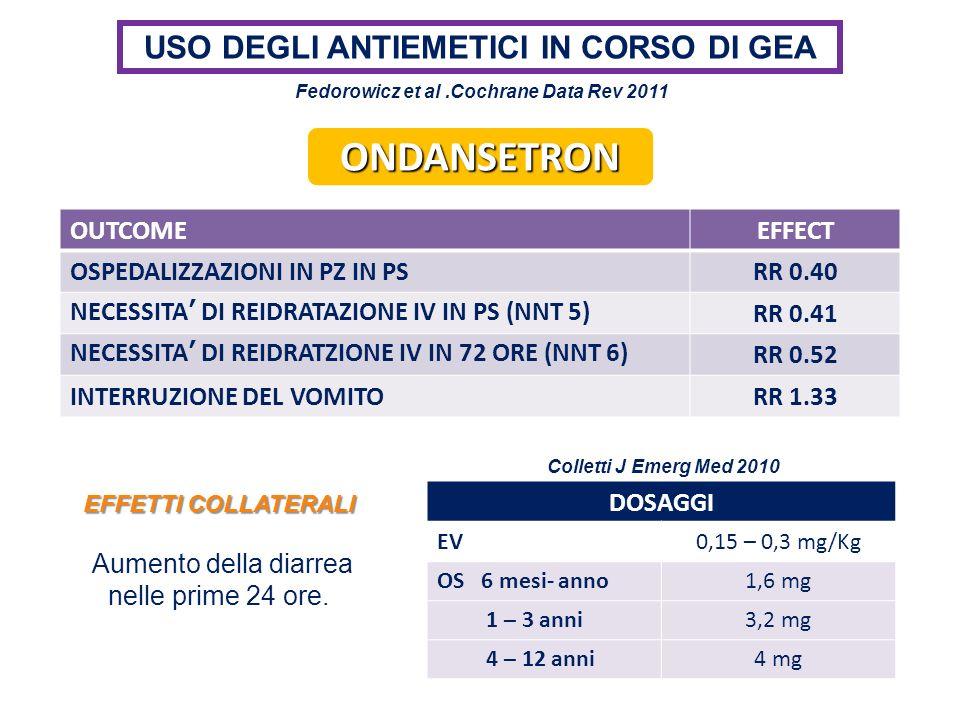 USO DEGLI ANTIEMETICI IN CORSO DI GEA OUTCOMEEFFECT OSPEDALIZZAZIONI IN PZ IN PSRR 0.40 NECESSITA DI REIDRATAZIONE IV IN PS (NNT 5)RR 0.41 NECESSITA D
