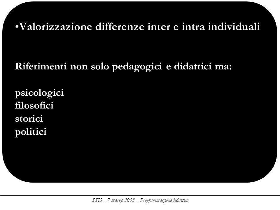 Valorizzazione differenze inter e intra individuali Riferimenti non solo pedagogici e didattici ma: psicologici filosofici storici politici SSIS – 7 marzo 2008 – Programmazione didattica
