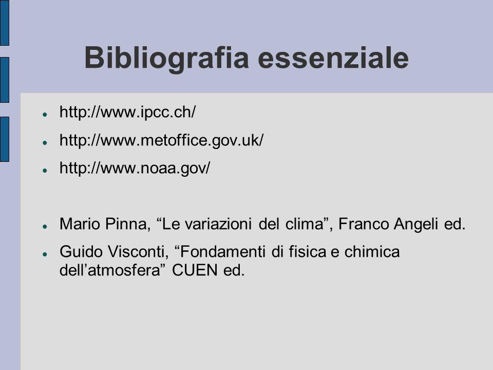Bibliografia essenziale http://www.ipcc.ch/ http://www.metoffice.gov.uk/ http://www.noaa.gov/ Mario Pinna, Le variazioni del clima, Franco Angeli ed.