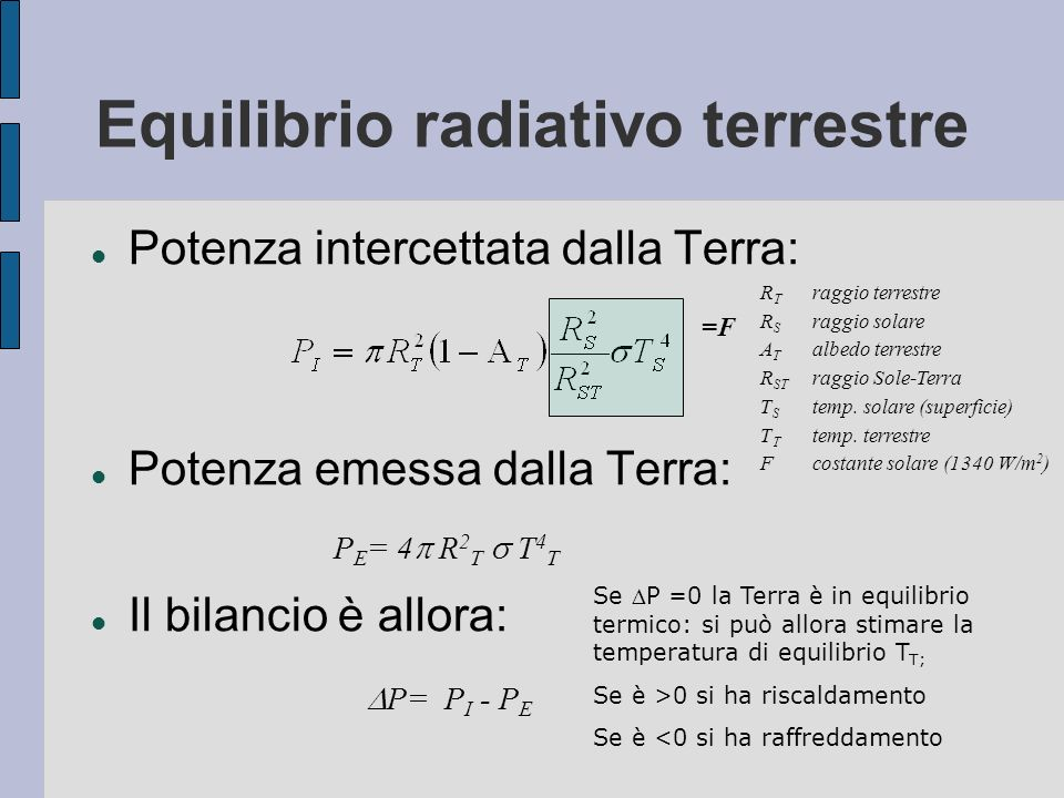 Equilibrio radiativo terrestre Potenza intercettata dalla Terra: Potenza emessa dalla Terra: Il bilancio è allora: P E = 4 R 2 T T 4 T P= P I - P E Se