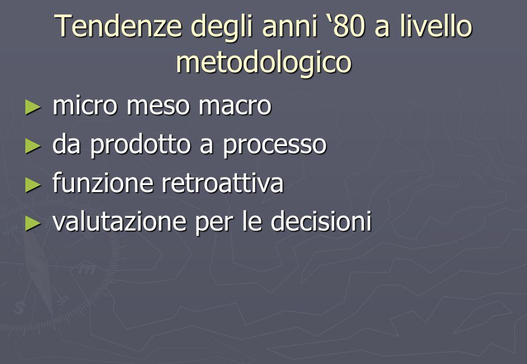 Tendenze degli anni 80 a livello metodologico micro meso macro micro meso macro da prodotto a processo da prodotto a processo funzione retroattiva funzione retroattiva valutazione per le decisioni valutazione per le decisioni