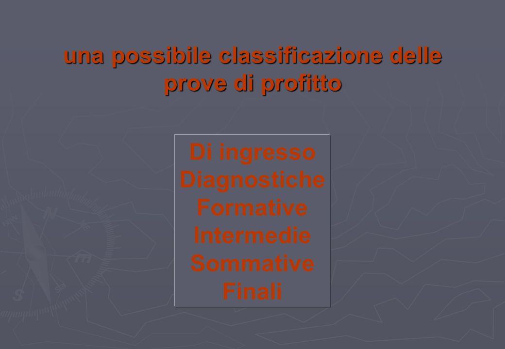 una possibile classificazione delle prove di profitto Di ingresso Diagnostiche Formative Intermedie Sommative Finali