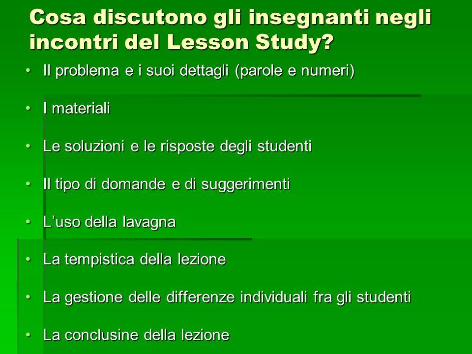 Cosa discutono gli insegnanti negli incontri del Lesson Study? Il problema e i suoi dettagli (parole e numeri)Il problema e i suoi dettagli (parole e