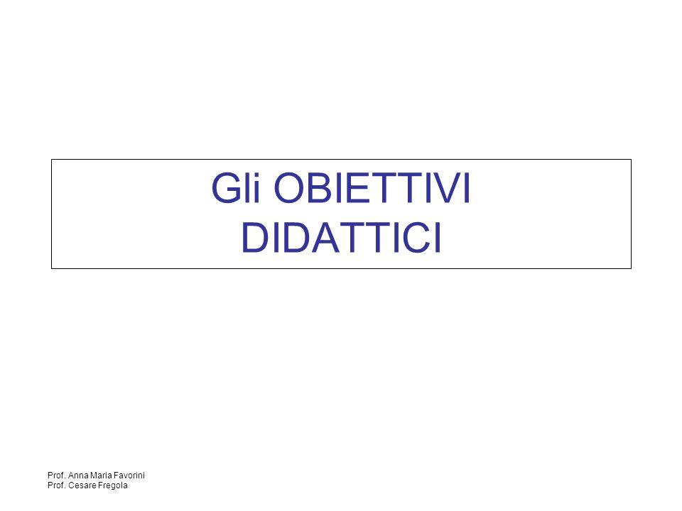 Prof. Anna Maria Favorini Prof. Cesare Fregola Gli OBIETTIVI DIDATTICI