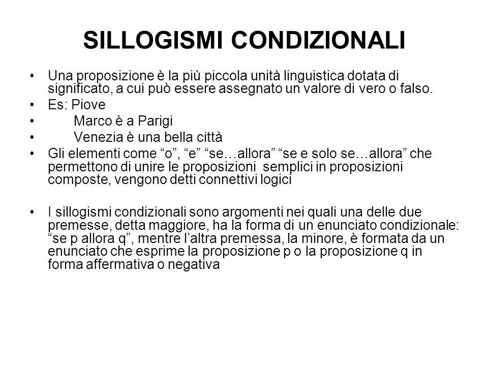 SILLOGISMI CONDIZIONALI Una proposizione è la più piccola unità linguistica dotata di significato, a cui può essere assegnato un valore di vero o falso.