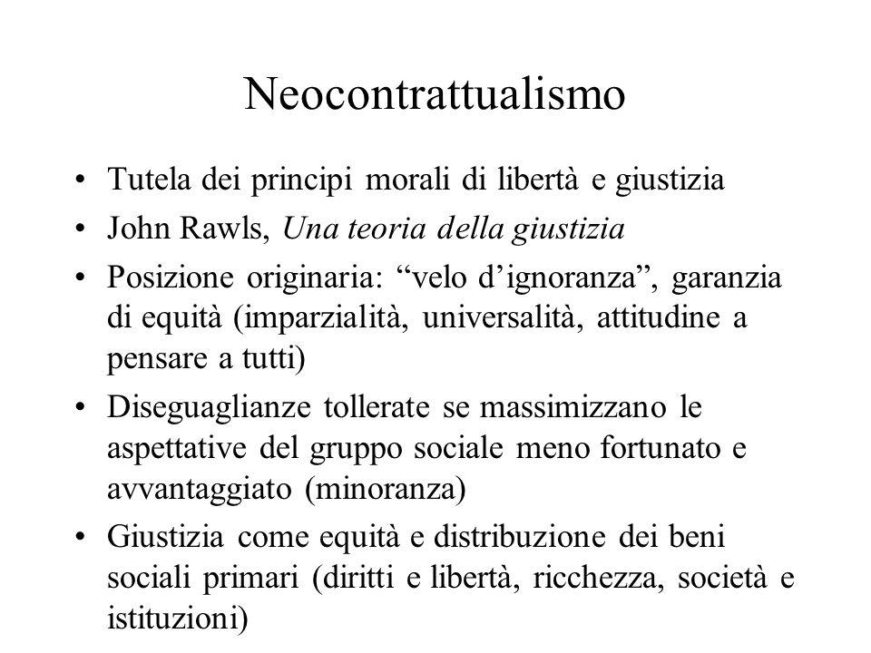 Neocontrattualismo Tutela dei principi morali di libertà e giustizia John Rawls, Una teoria della giustizia Posizione originaria: velo dignoranza, gar