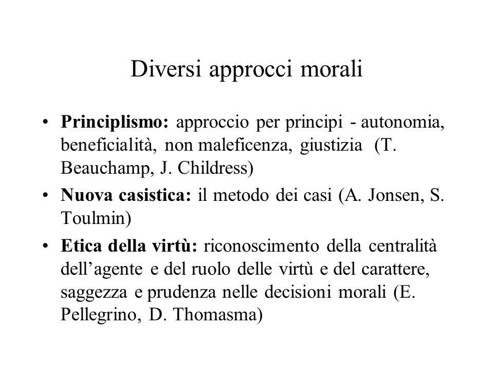 Diversi approcci morali Principlismo: approccio per principi - autonomia, beneficialità, non maleficenza, giustizia (T. Beauchamp, J. Childress) Nuova