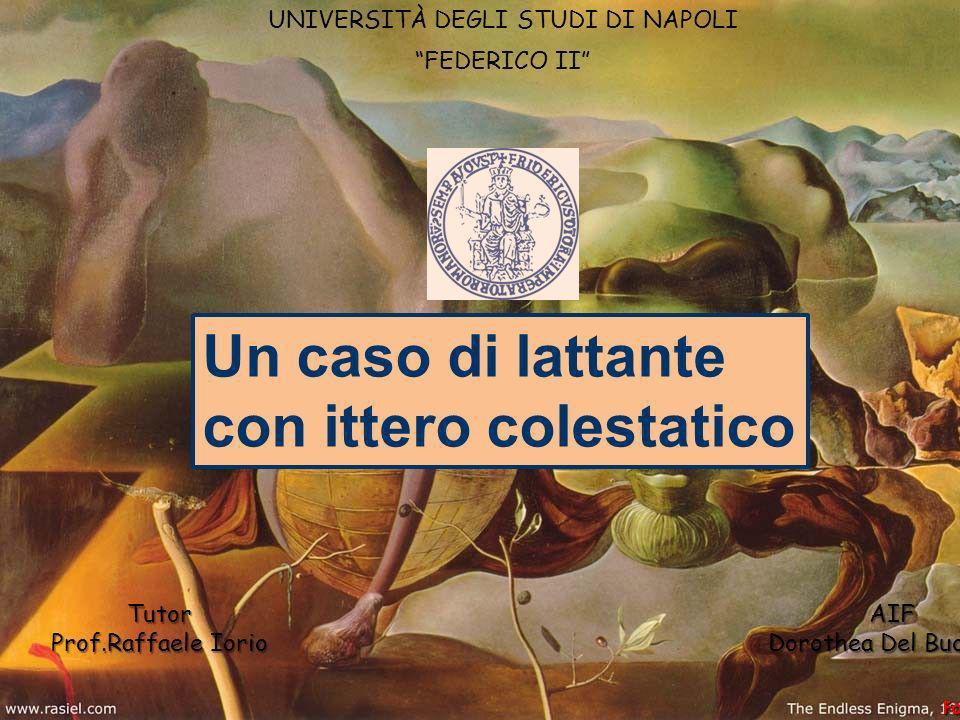 Un caso di lattante con ittero colestatico Tutor AIF Prof.Raffaele Iorio Dorothea Del Buono UNIVERSITÀ DEGLI STUDI DI NAPOLI FEDERICO II