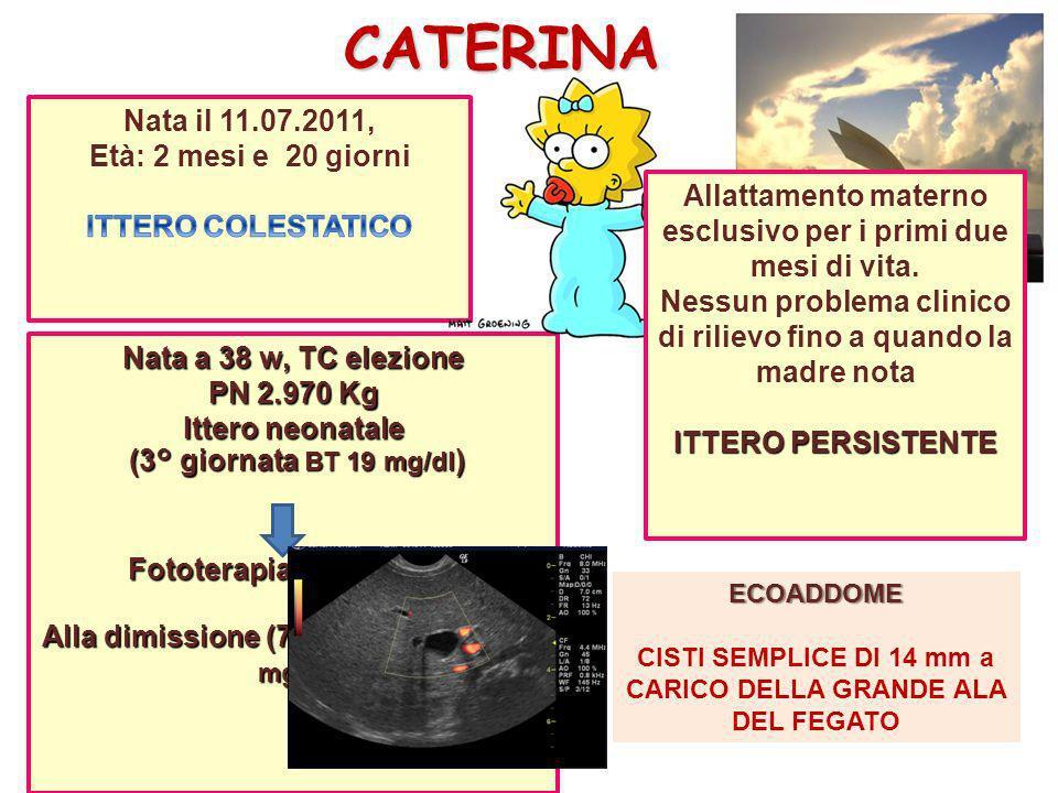 CATERINA Nata a 38 w, TC elezione PN 2.970 Kg Ittero neonatale (3° giornata BT 19 mg/dl ) (3° giornata BT 19 mg/dl ) Fototerapia per 5 giorni Fototera