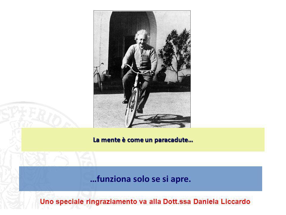 …funziona solo se si apre. La mente è come un paracadute… Uno speciale ringraziamento va alla Dott.ssa Daniela Liccardo