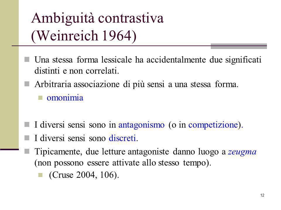 12 Ambiguità contrastiva (Weinreich 1964) Una stessa forma lessicale ha accidentalmente due significati distinti e non correlati.