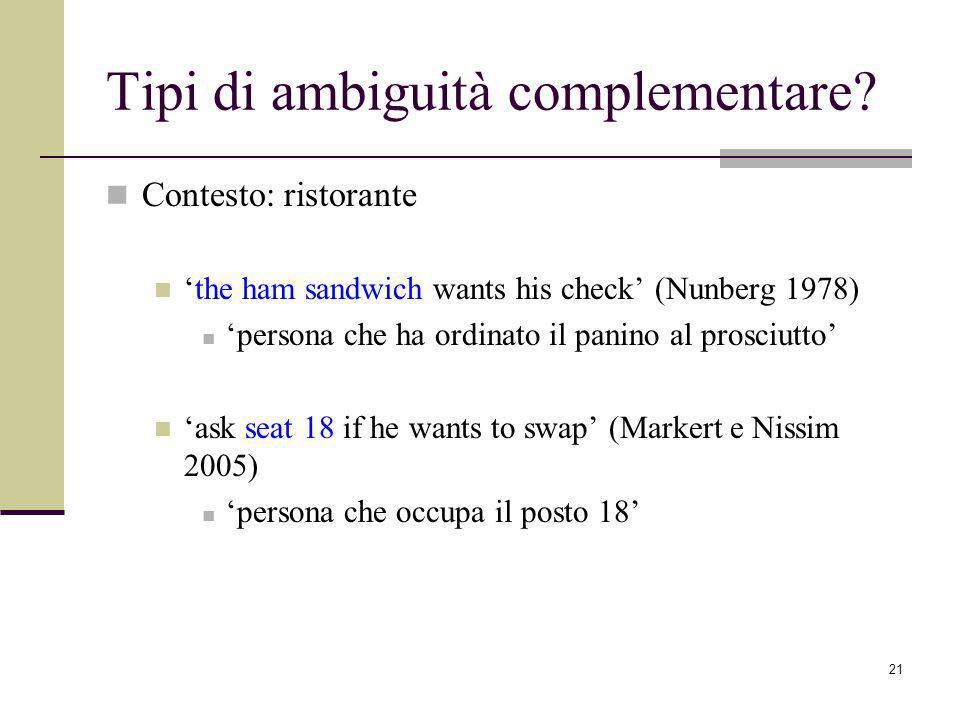 21 Tipi di ambiguità complementare.