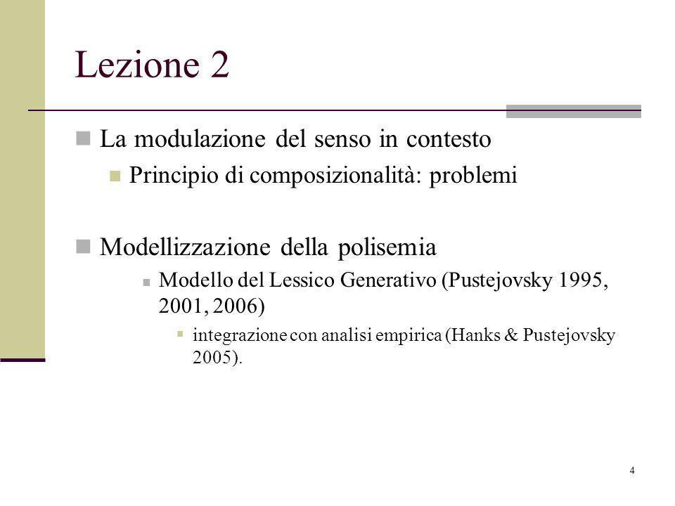 4 Lezione 2 La modulazione del senso in contesto Principio di composizionalità: problemi Modellizzazione della polisemia Modello del Lessico Generativo (Pustejovsky 1995, 2001, 2006) integrazione con analisi empirica (Hanks & Pustejovsky 2005).