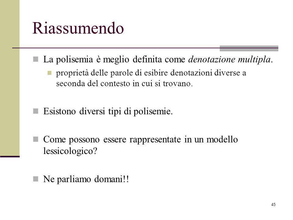 45 Riassumendo La polisemia è meglio definita come denotazione multipla.