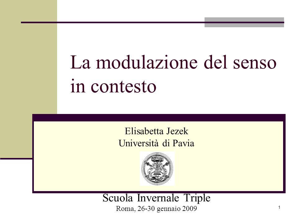 1 La modulazione del senso in contesto Elisabetta Jezek Università di Pavia Scuola Invernale Triple Roma, 26-30 gennaio 2009