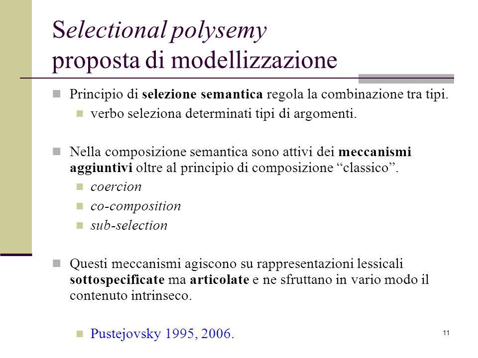 11 Selectional polysemy proposta di modellizzazione Principio di selezione semantica regola la combinazione tra tipi. verbo seleziona determinati tipi