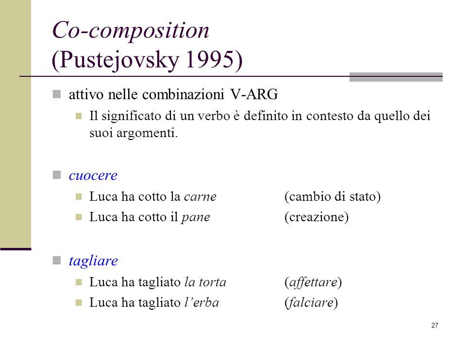 27 Co-composition (Pustejovsky 1995) attivo nelle combinazioni V-ARG Il significato di un verbo è definito in contesto da quello dei suoi argomenti. c