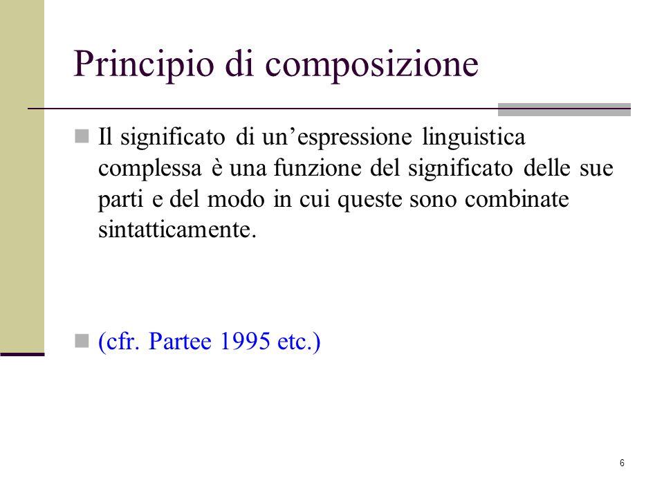 6 Principio di composizione Il significato di unespressione linguistica complessa è una funzione del significato delle sue parti e del modo in cui que