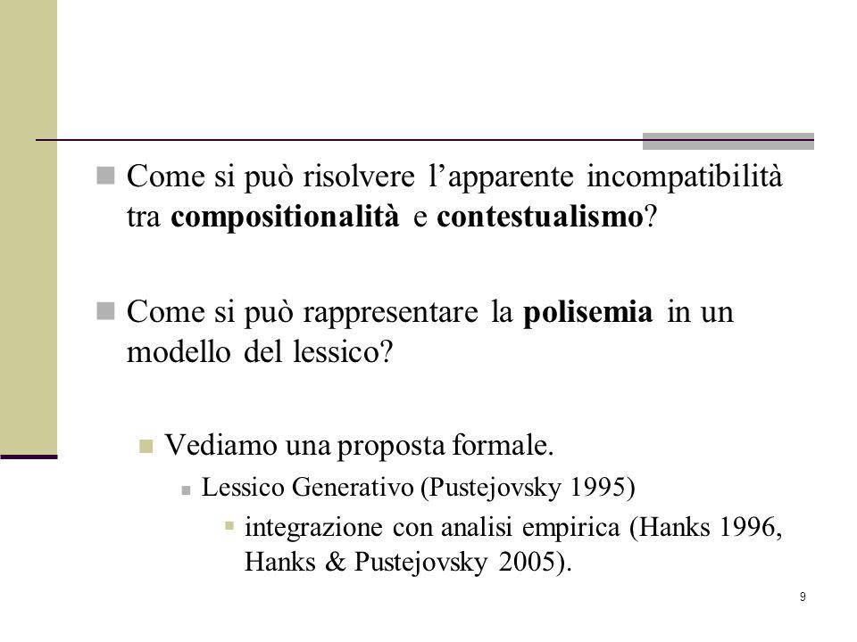 9 Come si può risolvere lapparente incompatibilità tra compositionalità e contestualismo? Come si può rappresentare la polisemia in un modello del les